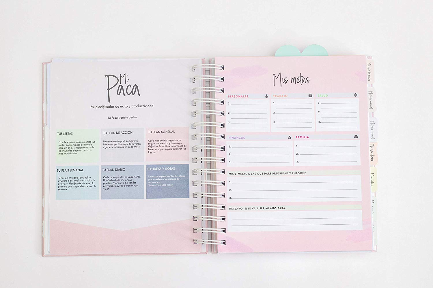 Mi Paca Planner Undated Agenda - Organizer and Calendar for Women - Achieve Your Goals, Increase Productivity and Happiness - Daily, Weekly, Monthly ...