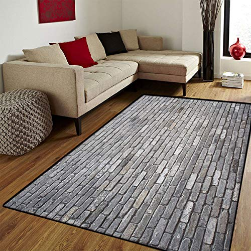 Grey,Door Mat Outside,Image of an Aged Old and Rough Brick Wall Obsolete Concrete Structure with Ragged Surface,Door Mats for Inside Non Slip Backing,Grey,6.6x8 ft