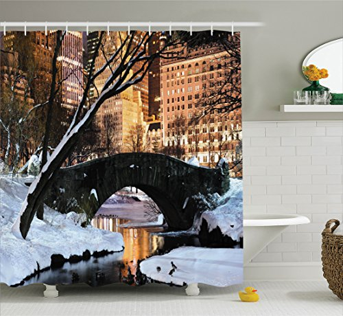 Ambesonne NYC Decor Collection, New York City Manhattan Central Park Lake Bridge In Freezing Winter At Dusk Panorama, Polyester Fabric Bathroom Shower Curtain Set with Hooks, Brown Black White