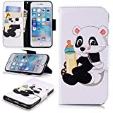 "Wallet Case for iPhone 6S Plus 5.5"",Leecase Feeding Bottle Panda Pattern Design Flip Stand Wallet Handset Shell Bookstyle Cover Skin for iPhone 6S Plus/6 Plus 5.5"" + 1x Black Stylus"