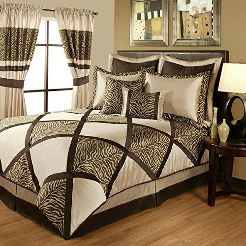 4 Piece Safari Brown King Comforter Set, Light Brown Beige Zebra Print Bedding With Solid Squares