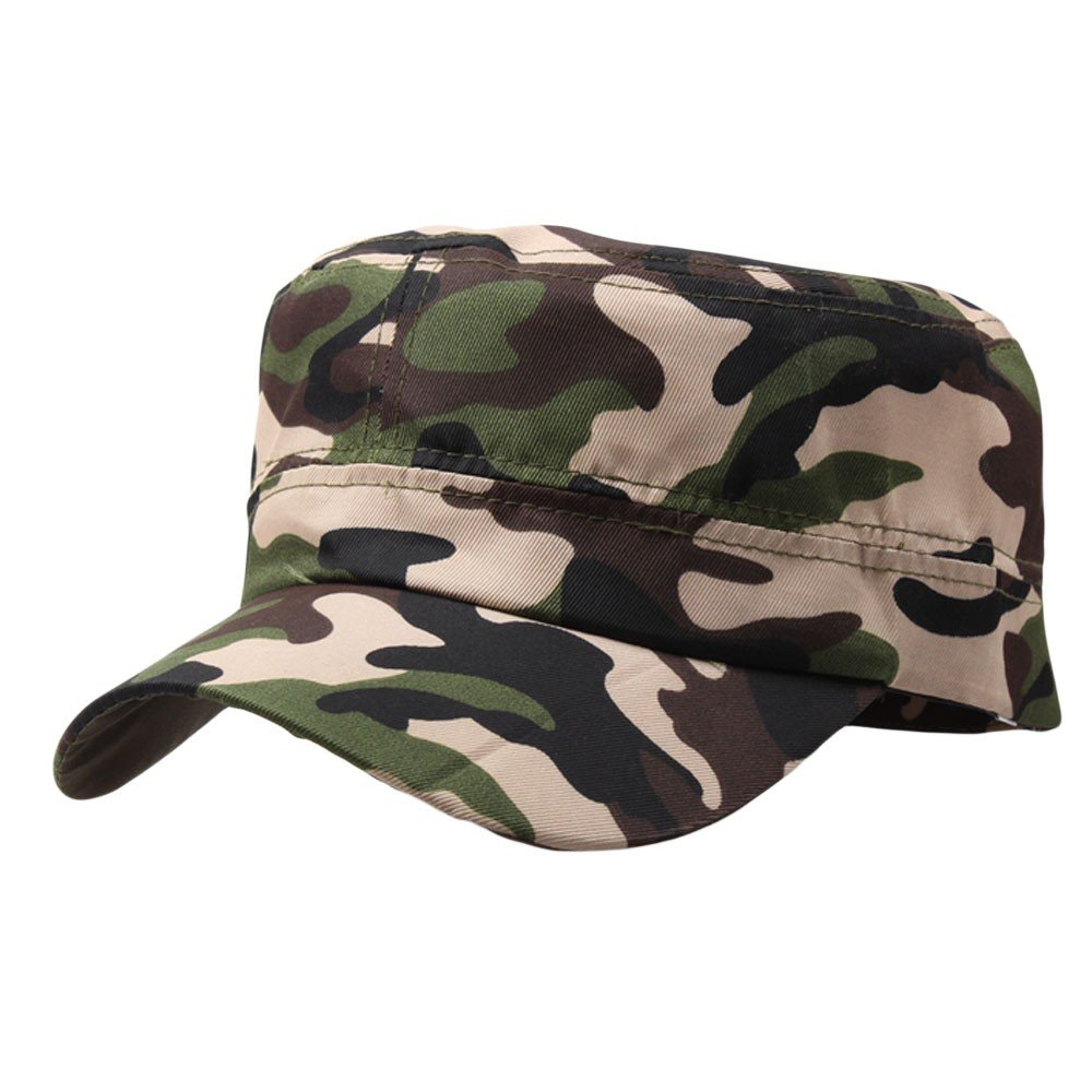 Mens Camouflage Military Cotton Hat Summer Army Peaked Dad Cap Adjustable Distressed Washed Cadet Patrol Bush Hat (Coffee)
