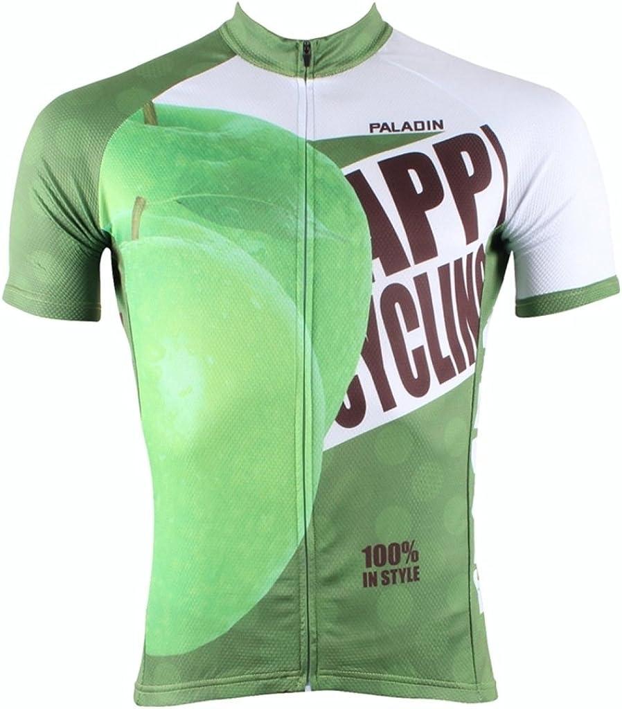 PaladinSport Mens Green Apple Pattern Short Sleeve Breathable Cycling Jerseys and 3D Padded Shorts Set