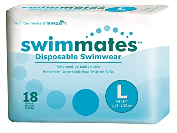Swimmates Disposable Adult Swim Diapers, Large, 18