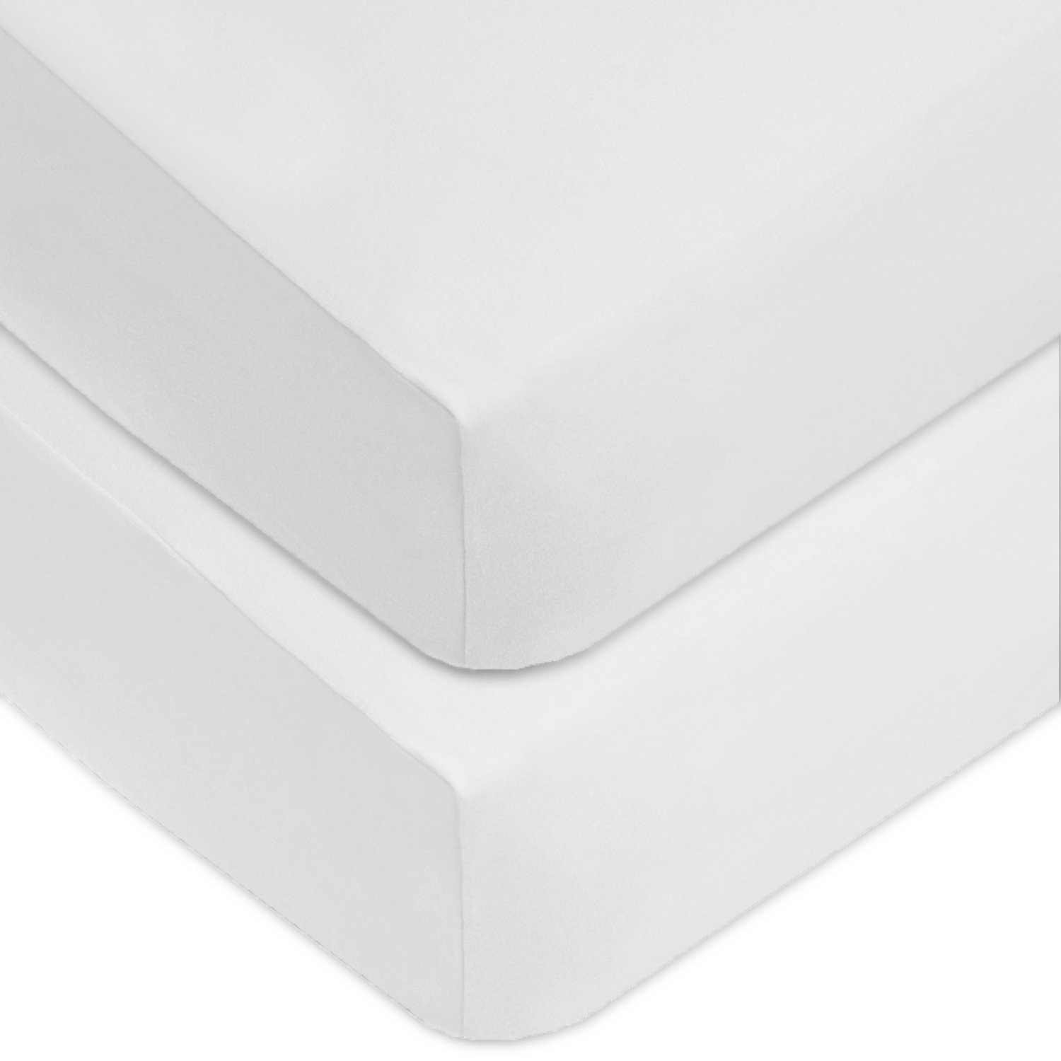 American Baby Company 2 Pack 100% Cotton Value Jersey Knit Fitted Crib Sheet for Standard Crib and Toddler Mattresses, White, for Boys and Girls by American Baby Company