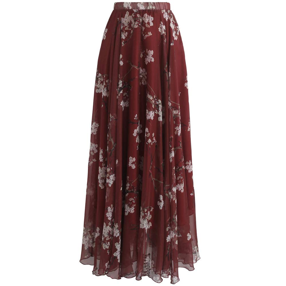 Chicwish Women's Plum Blossom Watercolor Wine Red Flower Maxi Floral Chiffon Slip Skirt by Chicwish