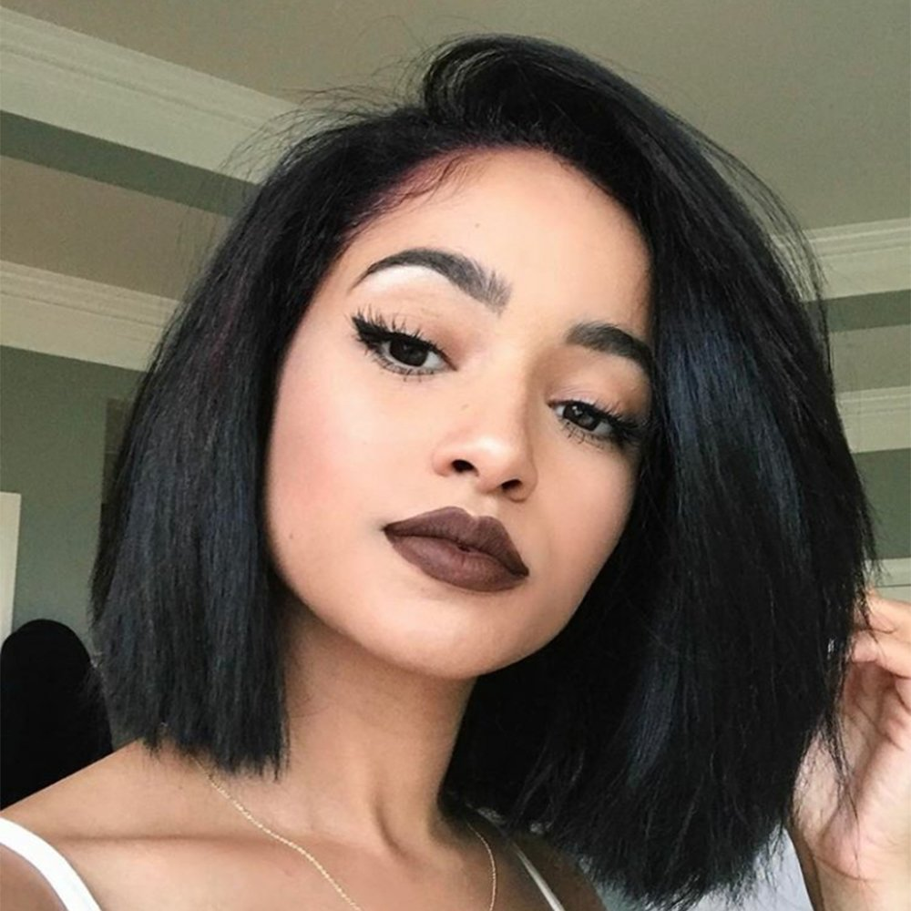 Yaki Straight Short Bob Haircut Front Lace Wig Brazilian Virgin Human Hair Wigs for Women Black Color (12 Inch, Lace Front Wig)