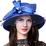 HISSHE Women Kentucky Derby Dress Church Wedding Party Feather Bucket Hat S608-A, Mesh-blue, Medium