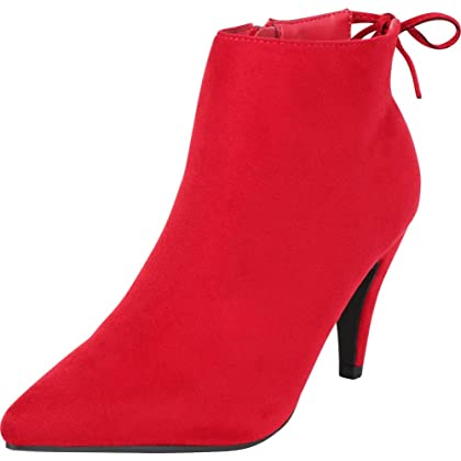 0cf2aefe46723 Cambridge Select Women's Pointed Toe Back Tie Mid Heel Ankle Bootie,7.5  B(M) US,Bright Red IMSU