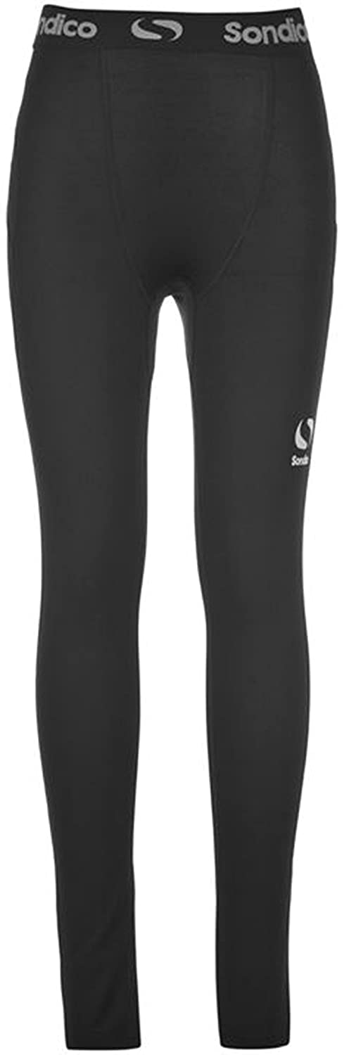 Juniors Boys Branded Sondico Compression Core Tights Base Layer (11-12 Yrs, Black)