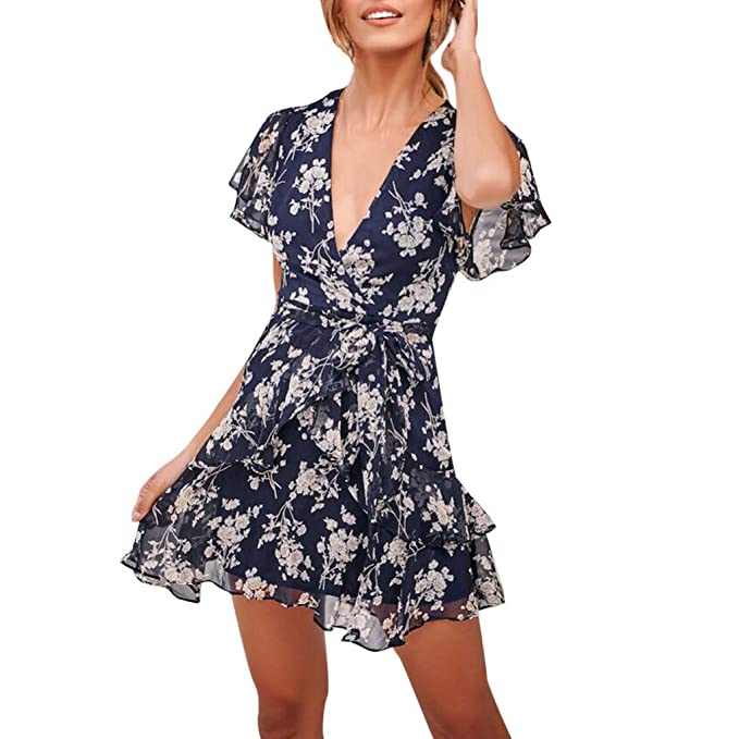 7704d3d628388 ... Cortos Verano Mujer Vestido de Fiesta Sexy para Mujer con Estampado  Floral con Cuello en V Vendaje Vestidos Bohemia de Playa niña  Amazon.es   Ropa y ...