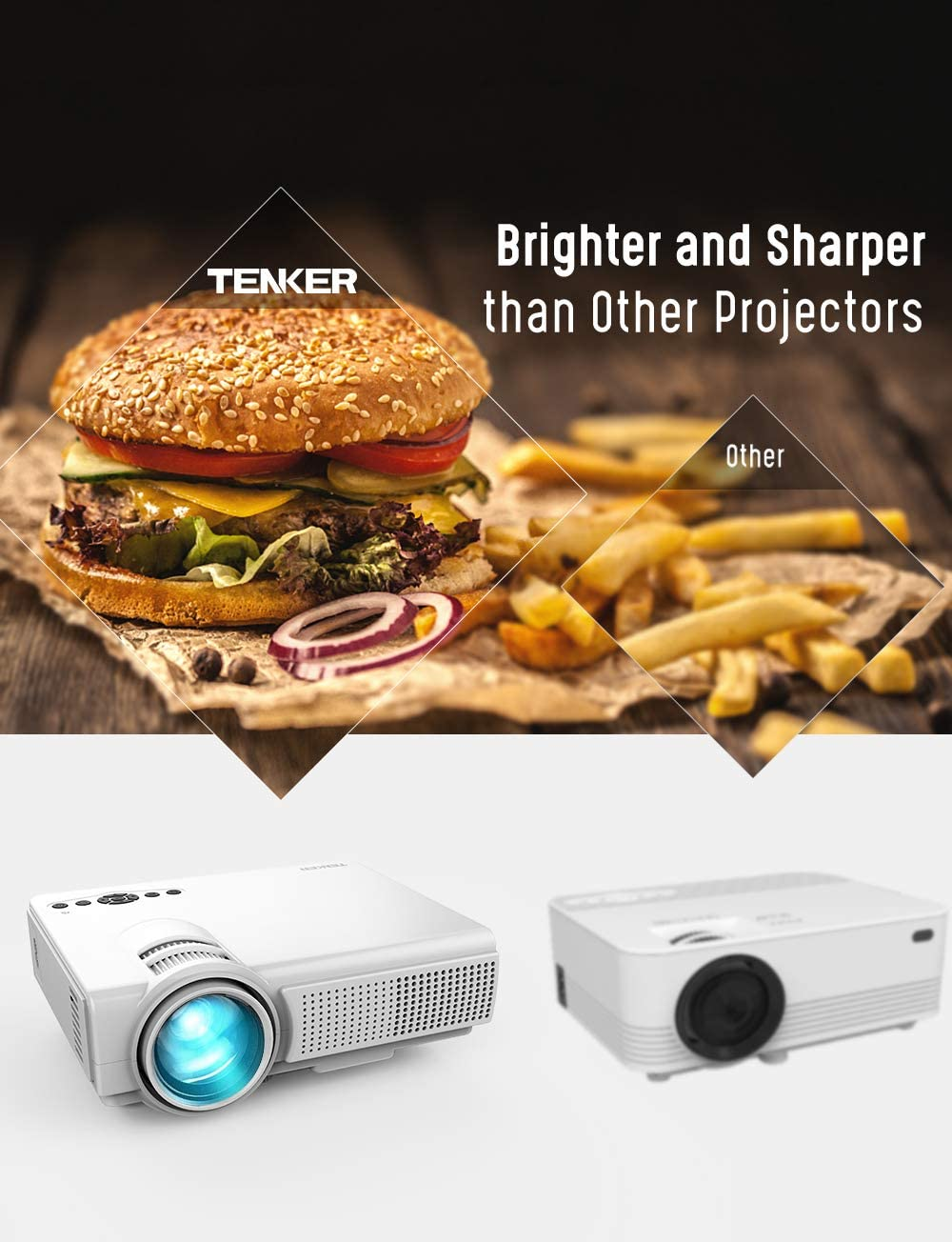 Proyector, TENKER Q5 Mini proyector de Video 2200 lúmenes Full HD ...