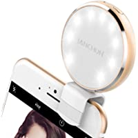 Selfie Ring Light, JANCHUN Rechargeable Selfie LED Camera Light with 7 Light Colors and 3 Levels of Brightness - Gold