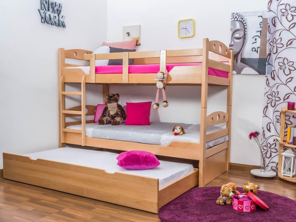 Stockbett mit Bettkasten Easy Sleep K11/h inkl. Liegeplatz und 2 Abdeckblenden, Kopf- und Fußteil mit Löchern, Buche Vollholz massiv Natur - Maße: 90 x 200 cm, teilbar