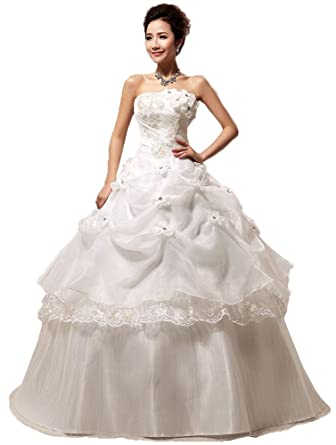 OnlyBridal Womens Cheap Quinceanera Dresses Organza Ball Gown Strapless Prom Dresses