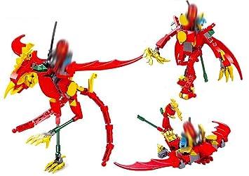 Modbrix 3 in1 Ladrillos Dragón Rojo Ninja Mini Figuras, 123 ...