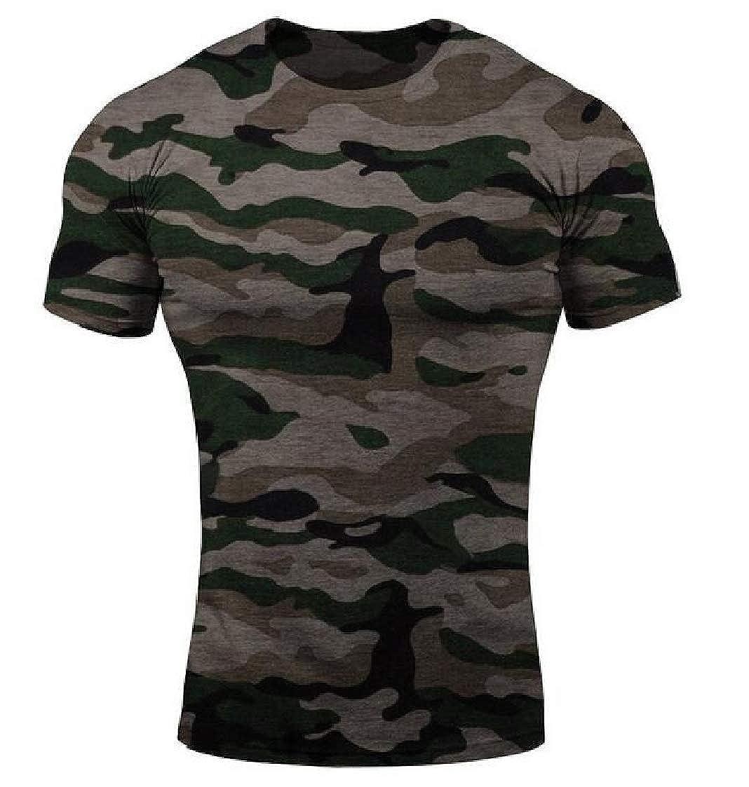 Nanquan Men Running Trainning Fitness Crewneck Camo Short Sleeve Casual T Shirts Tee