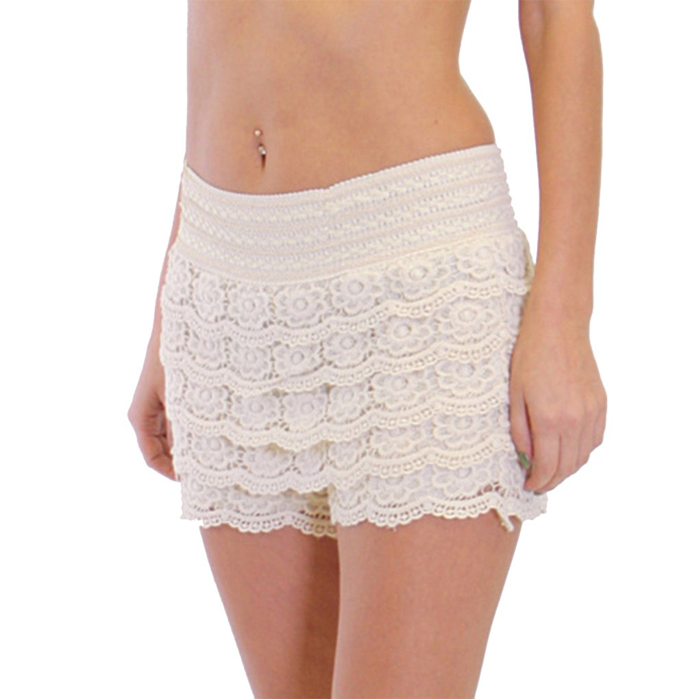 Dinamit Jeans Junior Girls Cotton Crochet Lace Shorts Natural-S