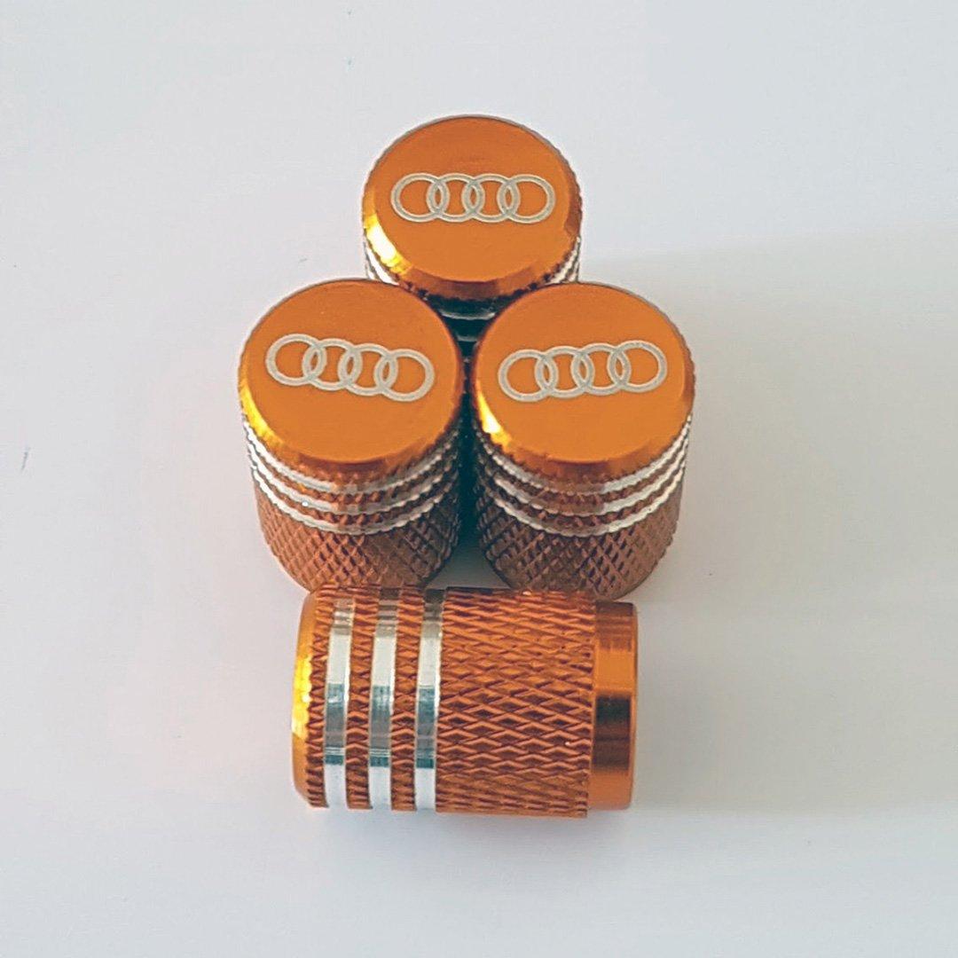 Sportimo Audi Naranja Laser gravierte aleaci/ón Rueda neum/ático v/álvula polvo Caps cabe todos los modelos