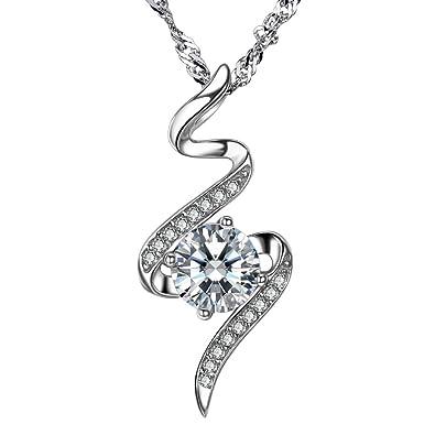 F.ZENI Necklace Women Silver Pendant 925 Sterling Silver Dancing Necklace  Sparkle Cubic Zirconia Fashion Silver Necklaces Pendants for Women   Amazon.co.uk  ... 9a66686af