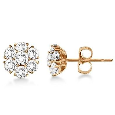 d3a079ffd Amazon.com: Diamond Flower Cluster Earrings in 14K Rose Gold (1.20ctw):  Stud Earrings: Jewelry