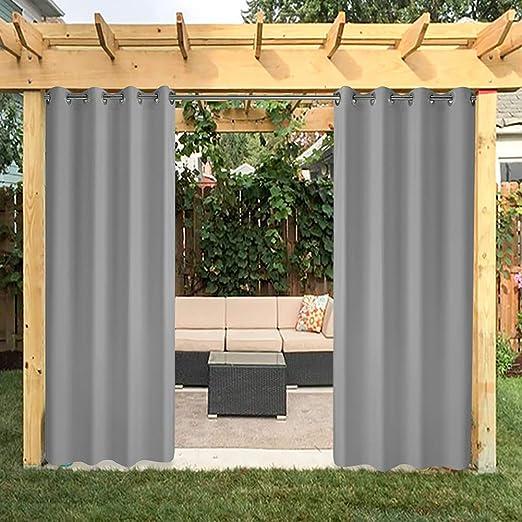 VIHII Cortinas para exteriores, cortinas para jardín, cortinas para balcón, cortinas opacas con ojales, cortina resistente al agua Mehltau resistente para cenador, 8 unidades, 132 x 215 cm, color gris: Amazon.es: Jardín