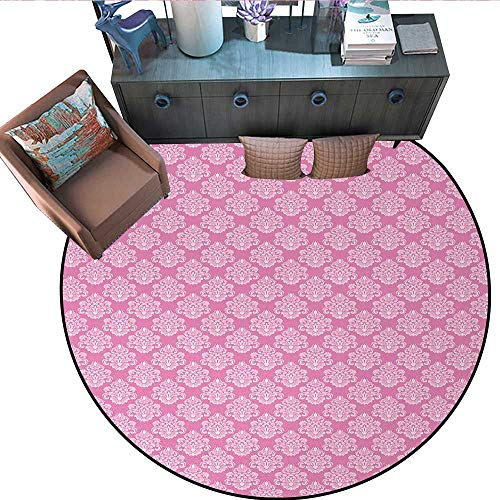 Pink Non-Slip Round Rugs Intricate Flower Motifs Artistic Petals and Leaves Retro Renaissance Tile Living Dinning Room and Bedroom Rugs (63