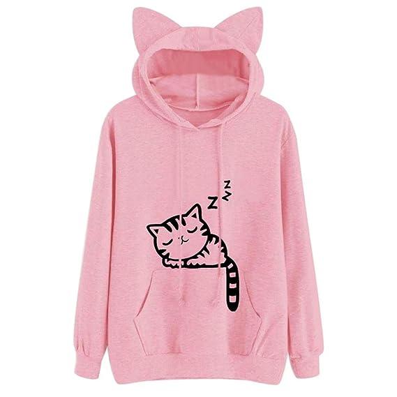 11f00202a5b8 Mujer Gato de Manga Larga Sudadera con Capucha Blusa Tops Jersey by Venmo  (S/
