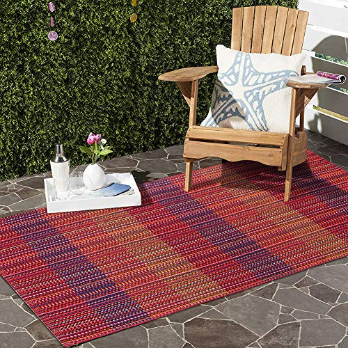 Ojia Moroccan Area Rug with Non Slip Pad,Woven Throw Rugs Door Mat,Indoor Runner for Bathroom,Bedroom,Living Room,Laundry Room (2 x 4ft,Boho Red)