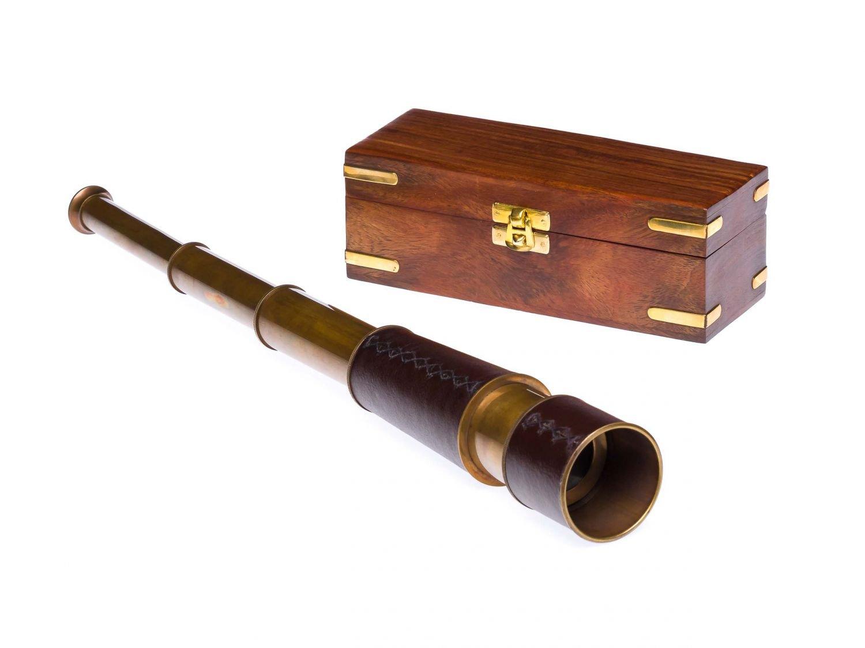Fernrohr messing 49cm mit holzbox maritim teleskop monokular