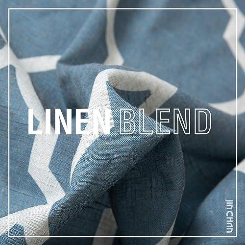 jinchan Quatrefoil Linen Curtains Flax Linen Blend Curtain Textured Lattice Moroccan Tile Print Kitchen Window Treatment Set for Living Room Geometry – 50 x 84 inch – Blue, Set of 2 Panels