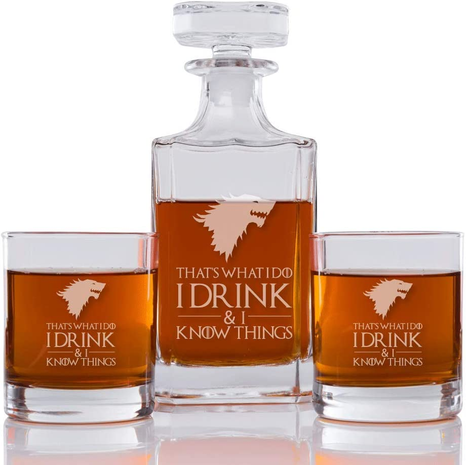 That's What I Do I Drink & I Know Things (Stark) Engraved Decanter and Rocks Glasses, Set of 3