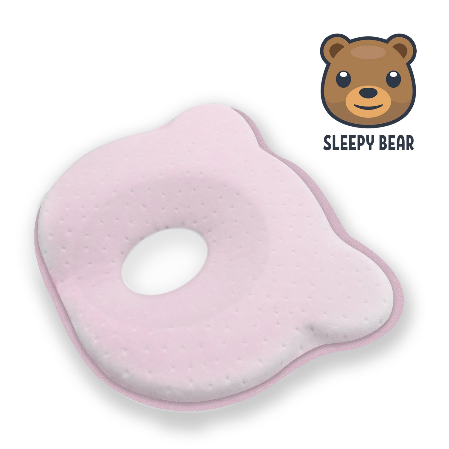 Baby Head Shaping Memory Foam Pillow   Prevent Newborn Infant Plagiocephaly Flat Head Syndrome   Super Soft, Comfortable & Supportive (Pink)
