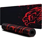 Extended Large Gaming Mouse Pad XL Thick Non-Slip Rubber Base Mouse pad Mice Smooth Cloth Surface Keyboard Mouse Pads for Computers Black and Red Size -700 * 300 * 2mm