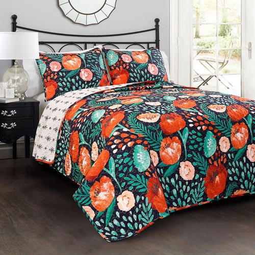 Poppies Quilt Fabric (Lush Decor 3 Piece Poppy Garden 3 Quilt Set, Full/Queen, Navy)