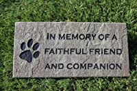 Sandblast Engraved Grey Stone Pet Memorial Headstone Grave Marker Dog Cat ff 4x8