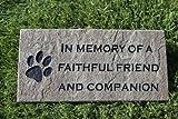 Sandblast Engraved Grey Stone Pet Memorial Headstone Grave Marker Dog Cat ff 4x8
