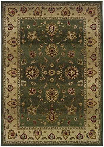 Oriental Area Rug in Green and Beige 11 ft. L x 7 ft. 10 in. W