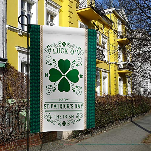 Happy St. Patrick's Day Welcome Garden Flag Lucky Irish Clover Leaf Decorative Holiday Flags Yard Flag House Banners for Indoor Outdoor/Outside Home Decor Double Side Printed 12x18inch ()