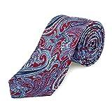 Lantier Designs Men's 100% Silk Paisley Woven Slim Necktie, 2.75'', Red/Blue