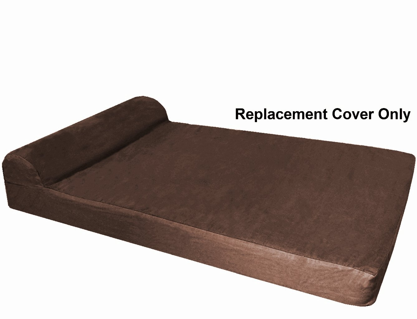 Dogbed4less HeadRest Dog Pet Bed Denim External Cover - Replacement Cover only - XL 47''X29''X4'' Size - Brown