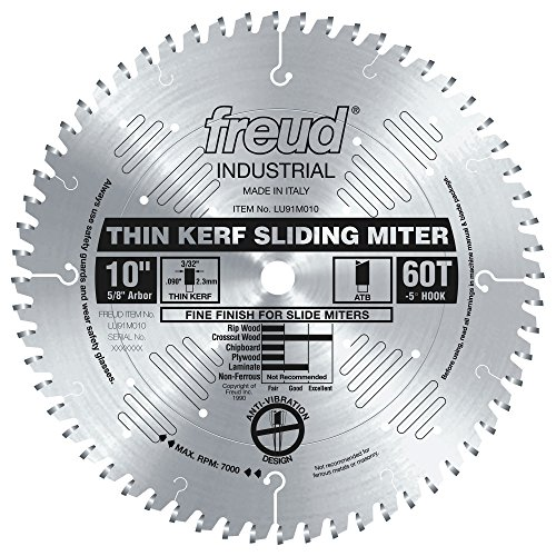 Freud LU91M010 10-Inch 60 Tooth ATB Crosscutting Miter Saw Blade with 5/8-Inch Arbor