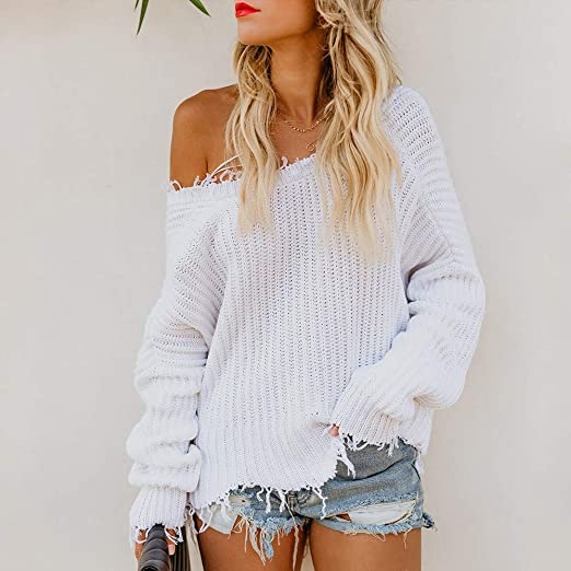 Amazon.com: Suéter para mujer, cuello en V, manga larga ...