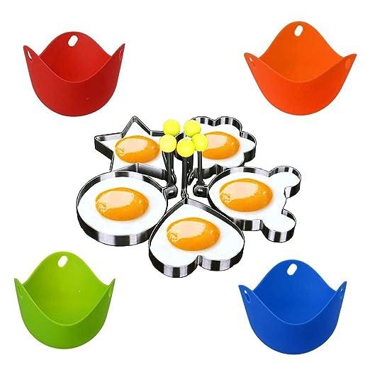 WENTS Juego de 4 vasos de silicona para huevos y 4 moldes de ...