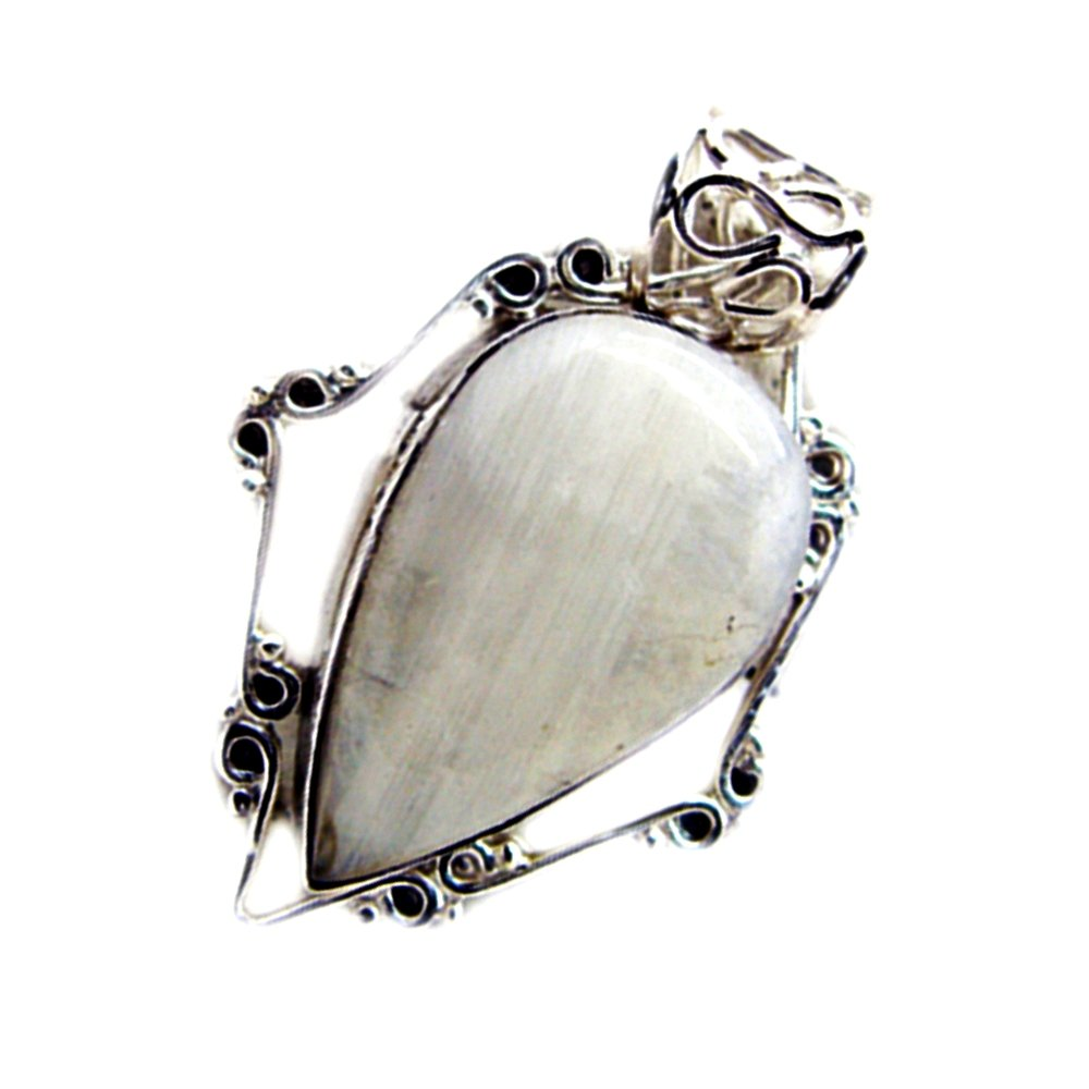 Gemsonclick Natural Rainbow Moonstone Pendant For Women Silver Charms June Birthstone Pear Shape Cabochon
