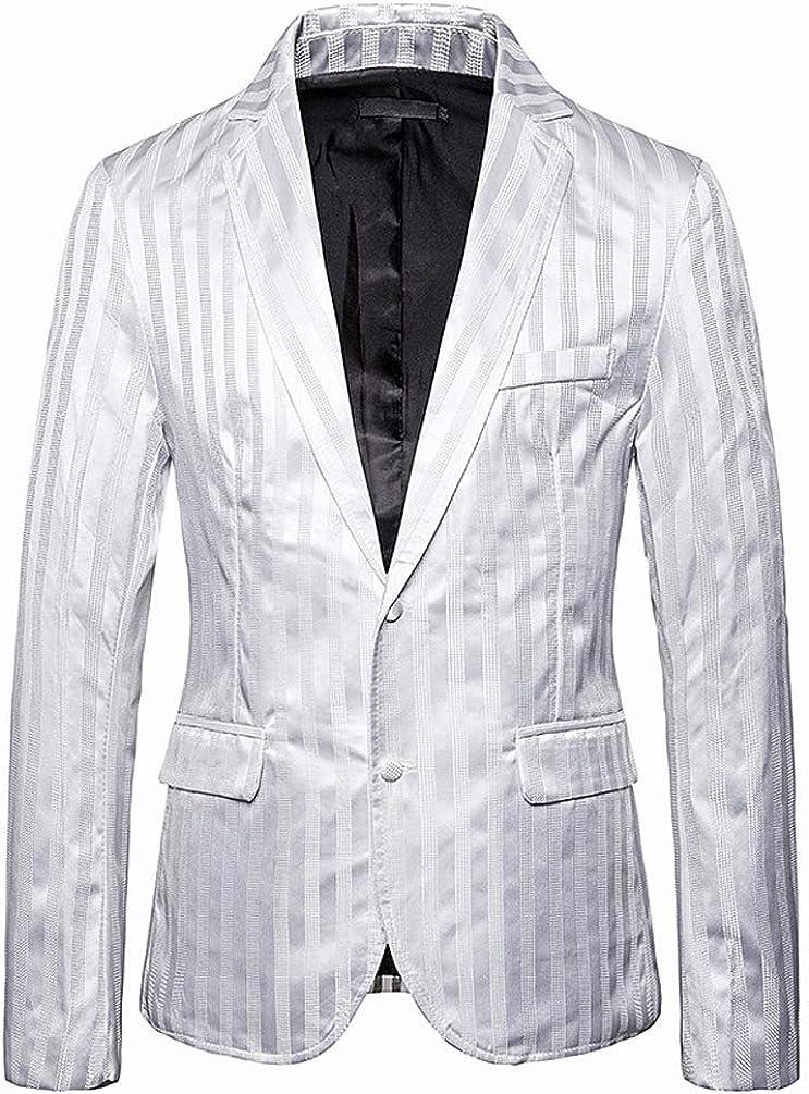 Uomo Blazer Giubotto Elegante Moda Slim Fit Tailleur Casual Festival Strisce Verticali Giacca da Tailleur Bianco