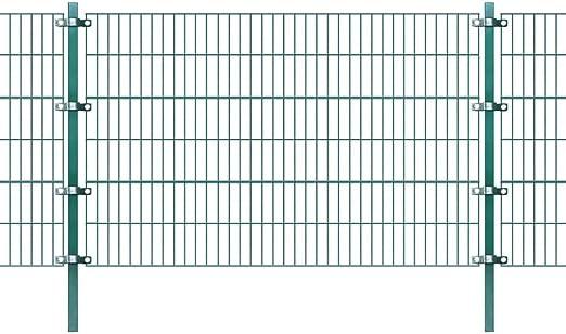 vidaXL Panel de Valla con Postes Hierro Verde 6x1, 2 m Cercado Exterior Terreno: Amazon.es: Jardín