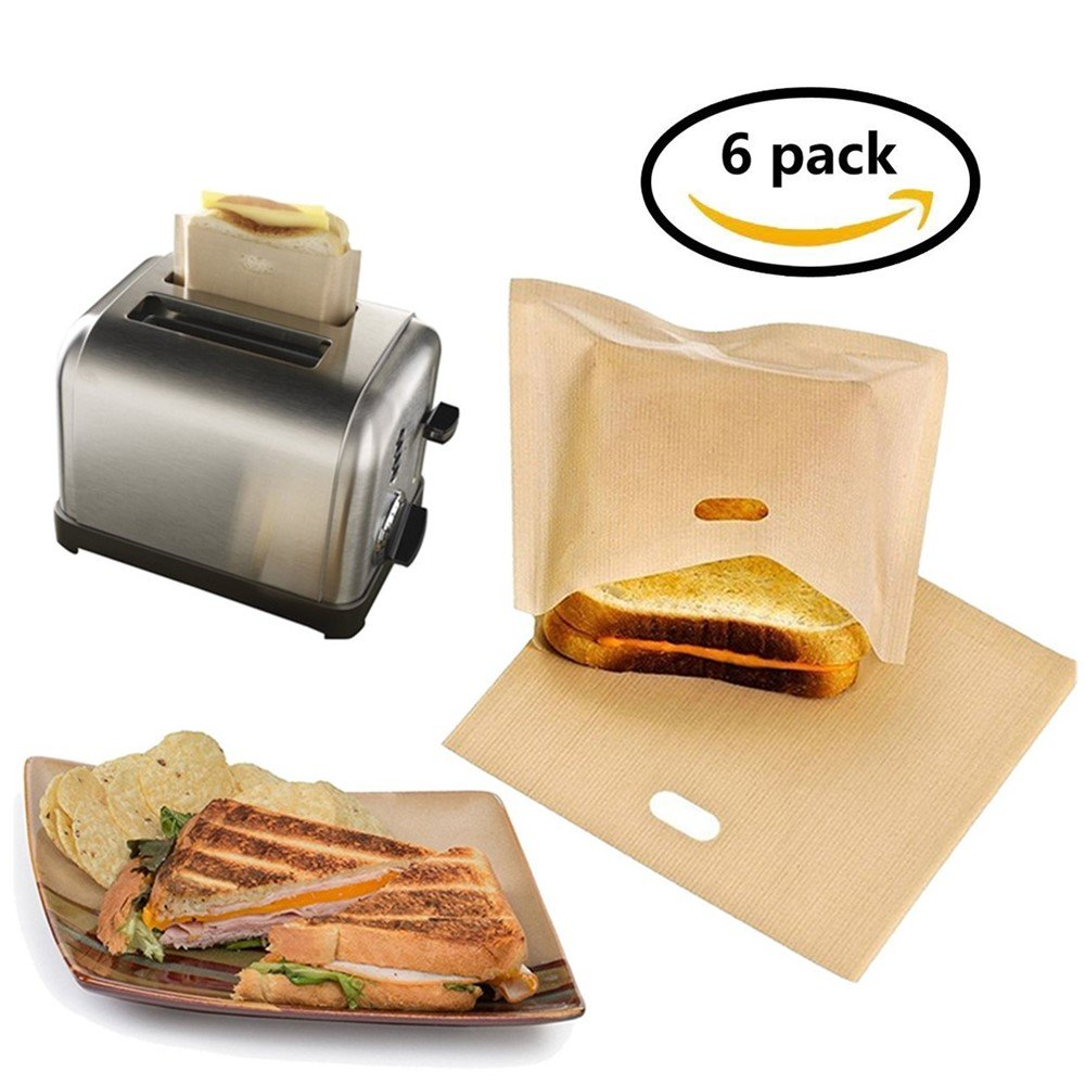 EatronChoi Non Stick Toaster Bags (Set of 6) Reusable and Heat Resistant Easy to Clean,Perfect for Sandwiches Pastries Pizza Slices Chicken Fish Vegetables Panini & Garlic Toast