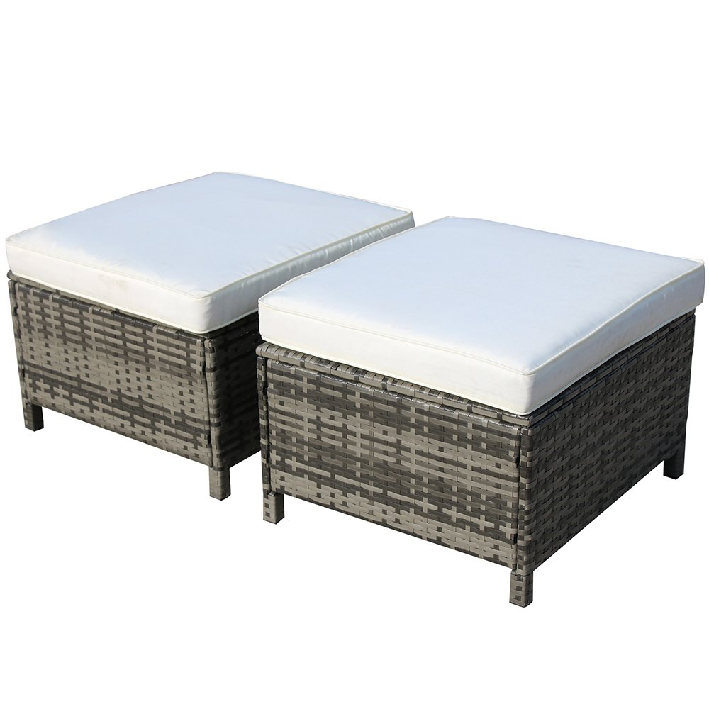 Outdoor Grey Wicker Ottoman with White Cushions All Weather Patio Ottoman,2 Piece