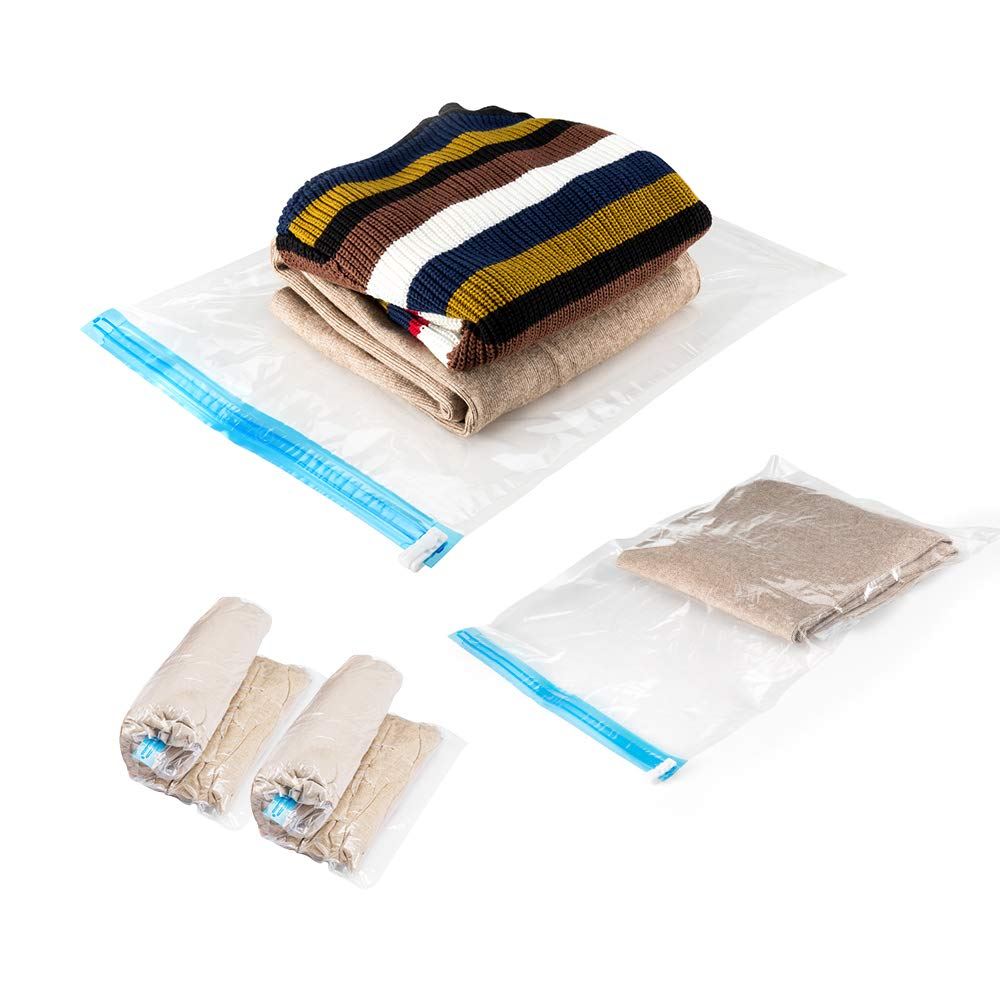 Wonyered 13 Packs Space Saver Bags for Clothing Compression Bags for Travel No Vacuum Sacks Save Space in Luggage